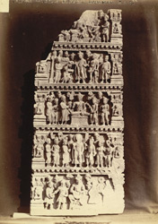 Buddhist sculpture from Karamar, Peshawar District: fragment of an urdhvapatta, showing religious scenes of uncertain meaning.